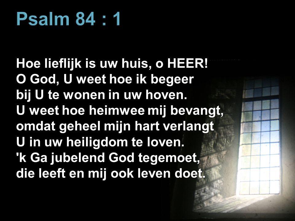 Psalm 84 : 1 Hoe lieflijk is uw huis, o HEER.