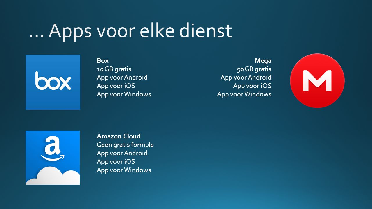 Box 10 GB gratis App voor Android App voor iOS App voor Windows Mega 50 GB gratis App voor Android App voor iOS App voor Windows Amazon Cloud Geen gratis formule App voor Android App voor iOS App voor Windows