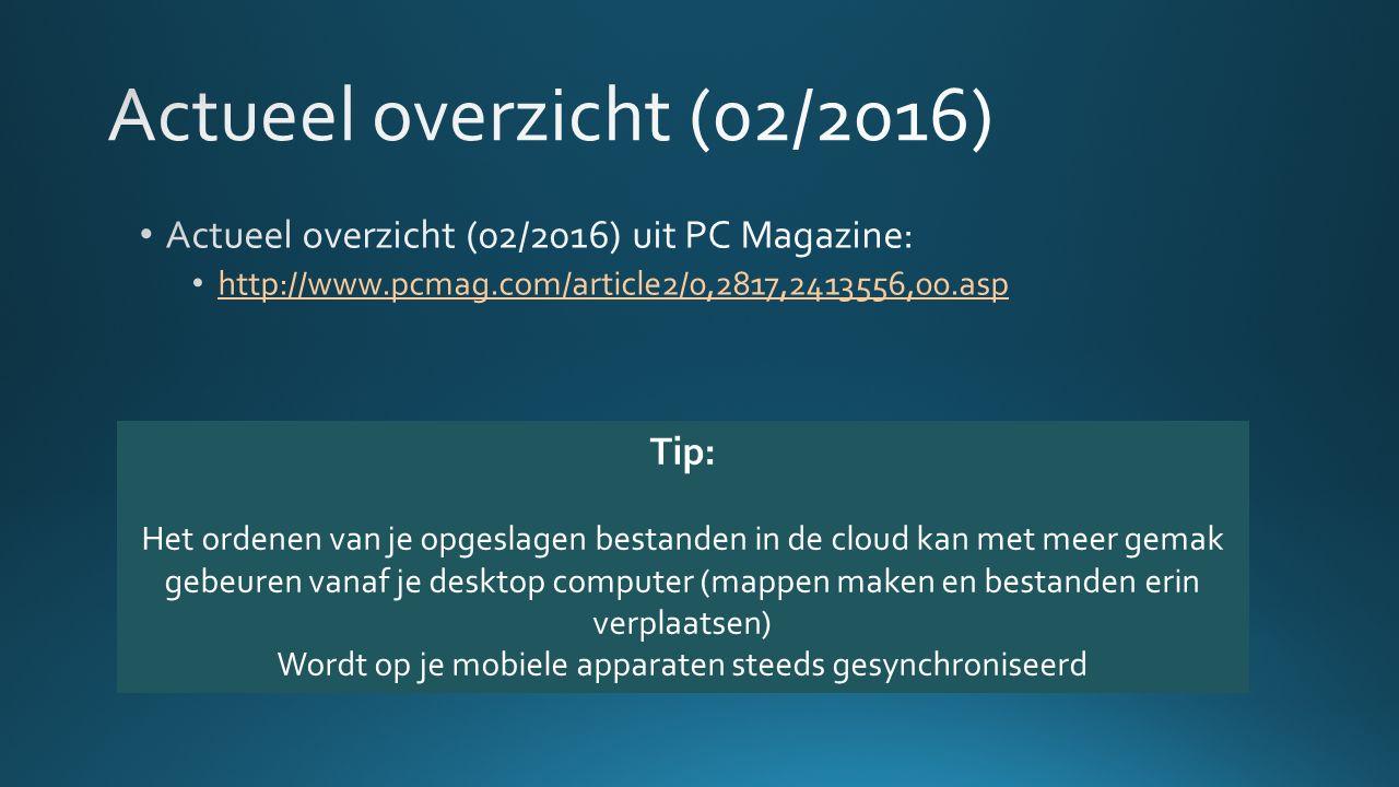 Tip: Het ordenen van je opgeslagen bestanden in de cloud kan met meer gemak gebeuren vanaf je desktop computer (mappen maken en bestanden erin verplaatsen) Wordt op je mobiele apparaten steeds gesynchroniseerd