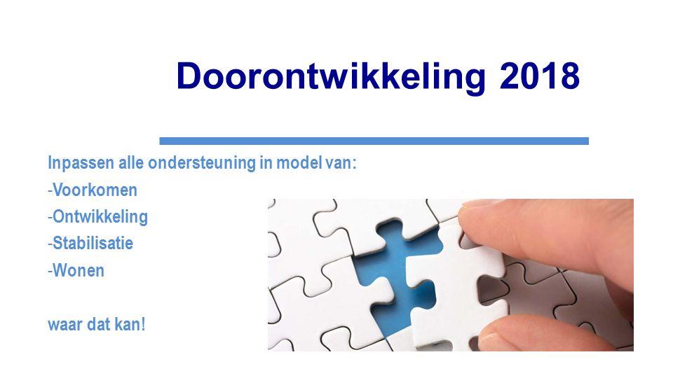Doorontwikkeling 2018 Inpassen alle ondersteuning in model van: - Voorkomen - Ontwikkeling - Stabilisatie - Wonen waar dat kan!