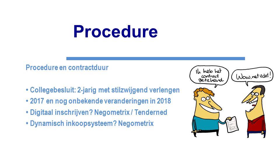 Procedure Procedure en contractduur Collegebesluit: 2-jarig met stilzwijgend verlengen 2017 en nog onbekende veranderingen in 2018 Digitaal inschrijve