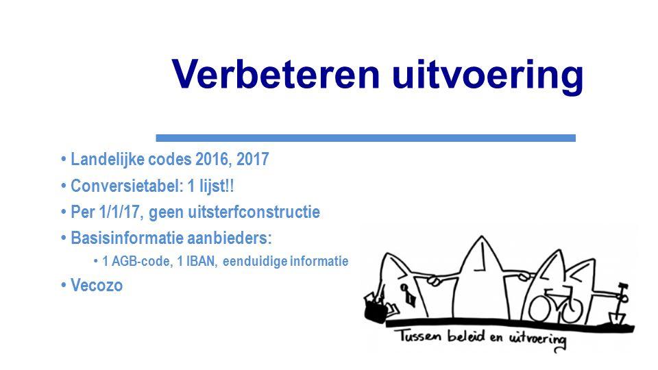Verbeteren uitvoering Landelijke codes 2016, 2017 Conversietabel: 1 lijst!! Per 1/1/17, geen uitsterfconstructie Basisinformatie aanbieders: 1 AGB-cod