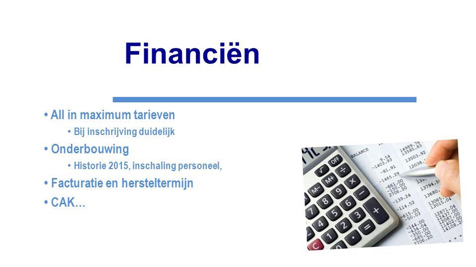 Financiën All in maximum tarieven Bij inschrijving duidelijk Onderbouwing Historie 2015, inschaling personeel, Facturatie en hersteltermijn CAK…