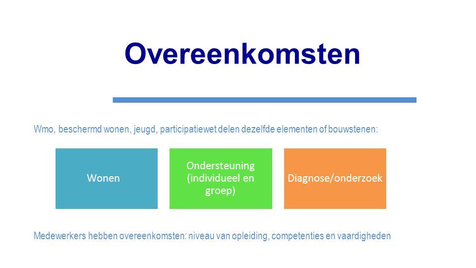 Overeenkomsten Wmo, beschermd wonen, jeugd, participatiewet delen dezelfde elementen of bouwstenen: Medewerkers hebben overeenkomsten: niveau van ople