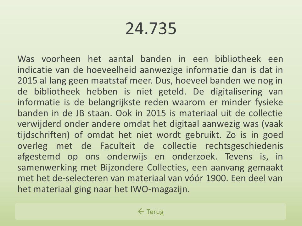  Terug 24.735 Was voorheen het aantal banden in een bibliotheek een indicatie van de hoeveelheid aanwezige informatie dan is dat in 2015 al lang geen