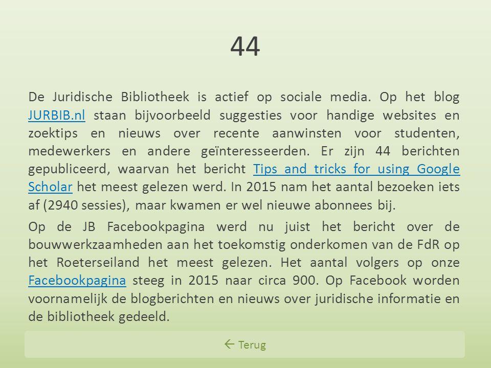 44 De Juridische Bibliotheek is actief op sociale media. Op het blog JURBIB.nl staan bijvoorbeeld suggesties voor handige websites en zoektips en nieu