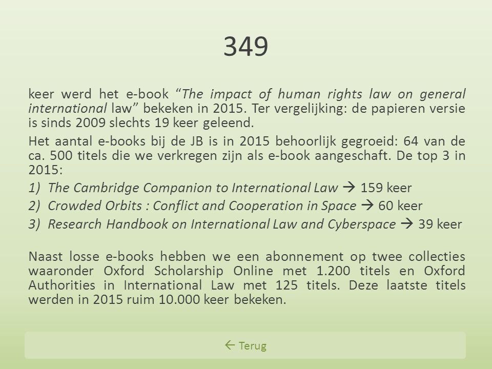 349 keer werd het e-book The impact of human rights law on general international law bekeken in 2015.