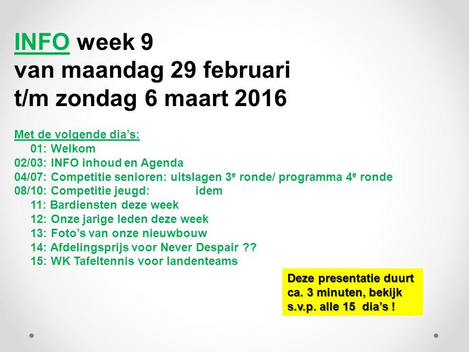 INFO week 9 van maandag 29 februari t/m zondag 6 maart 2016 Met de volgende dia's: 01: Welkom 02/03: INFO inhoud en Agenda 04/07: Competitie senioren: