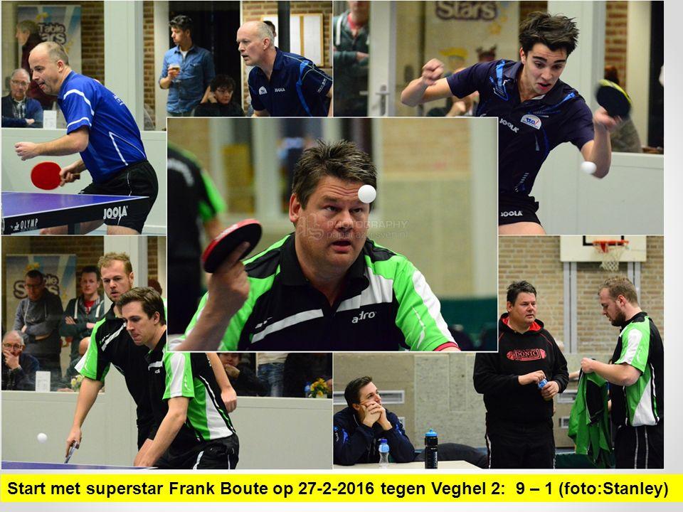 Start met superstar Frank Boute op 27-2-2016 tegen Veghel 2: 9 – 1 (foto:Stanley)