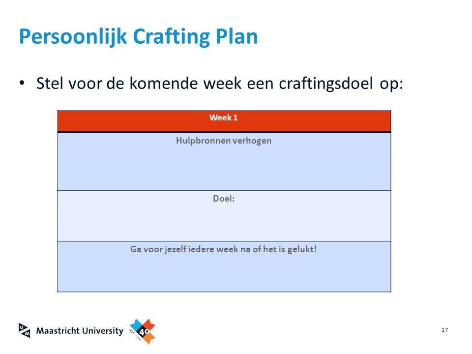 Stel voor de komende week een craftingsdoel op: 17 Persoonlijk Crafting Plan Week 1 Hulpbronnen verhogen Doel: Ga voor jezelf iedere week na of het is