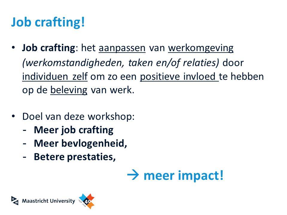 Job crafting: het aanpassen van werkomgeving (werkomstandigheden, taken en/of relaties) door individuen zelf om zo een positieve invloed te hebben op