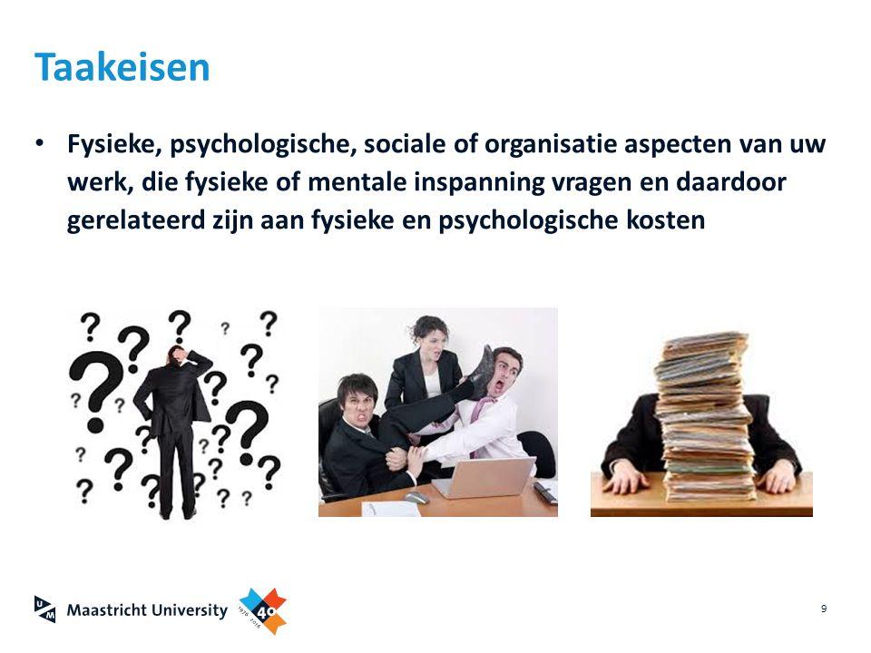 Fysieke, psychologische, sociale of organisatie aspecten van uw werk, die fysieke of mentale inspanning vragen en daardoor gerelateerd zijn aan fysiek