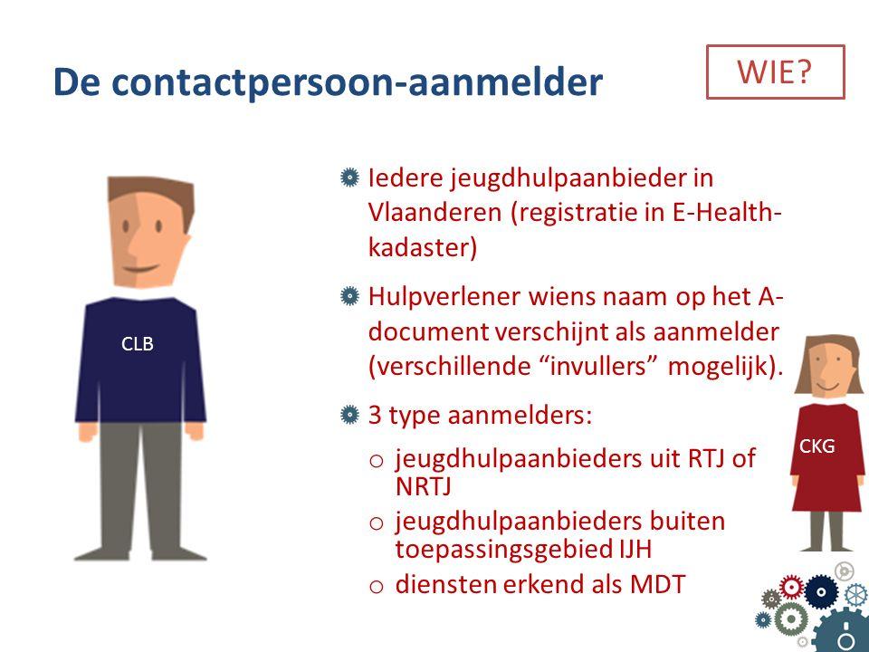 Iedere jeugdhulpaanbieder in Vlaanderen (registratie in E-Health- kadaster) Hulpverlener wiens naam op het A- document verschijnt als aanmelder (verschillende invullers mogelijk).