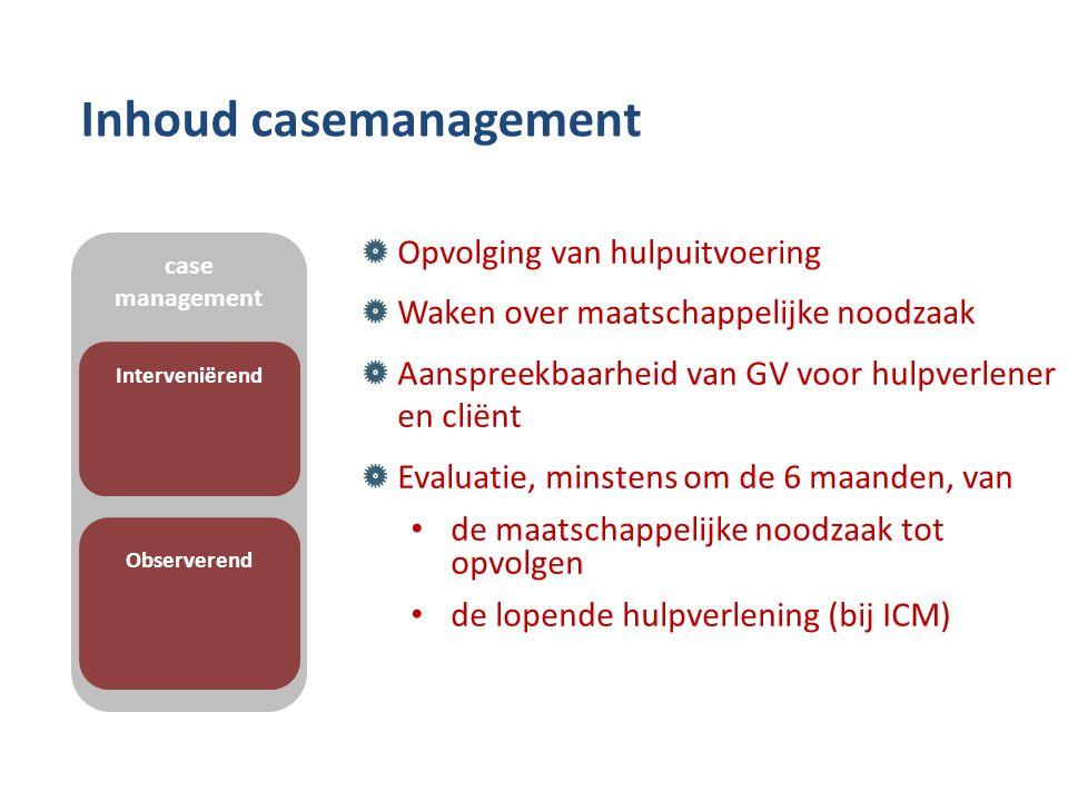 Inhoud casemanagement Opvolging van hulpuitvoering Waken over maatschappelijke noodzaak Aanspreekbaarheid van GV voor hulpverlener en cliënt Evaluatie, minstens om de 6 maanden, van de maatschappelijke noodzaak tot opvolgen de lopende hulpverlening (bij ICM) case management Interveniërend Observerend