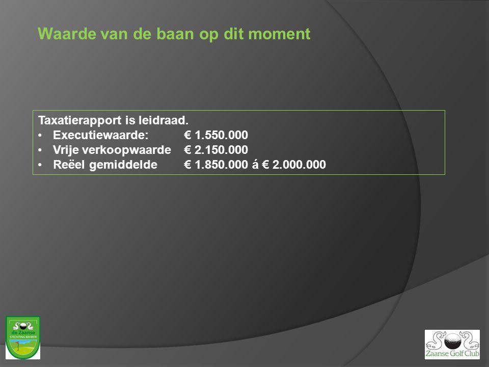 Waarde van de baan op dit moment Taxatierapport is leidraad. Executiewaarde: € 1.550.000 Vrije verkoopwaarde € 2.150.000 Reëel gemiddelde€ 1.850.000 á