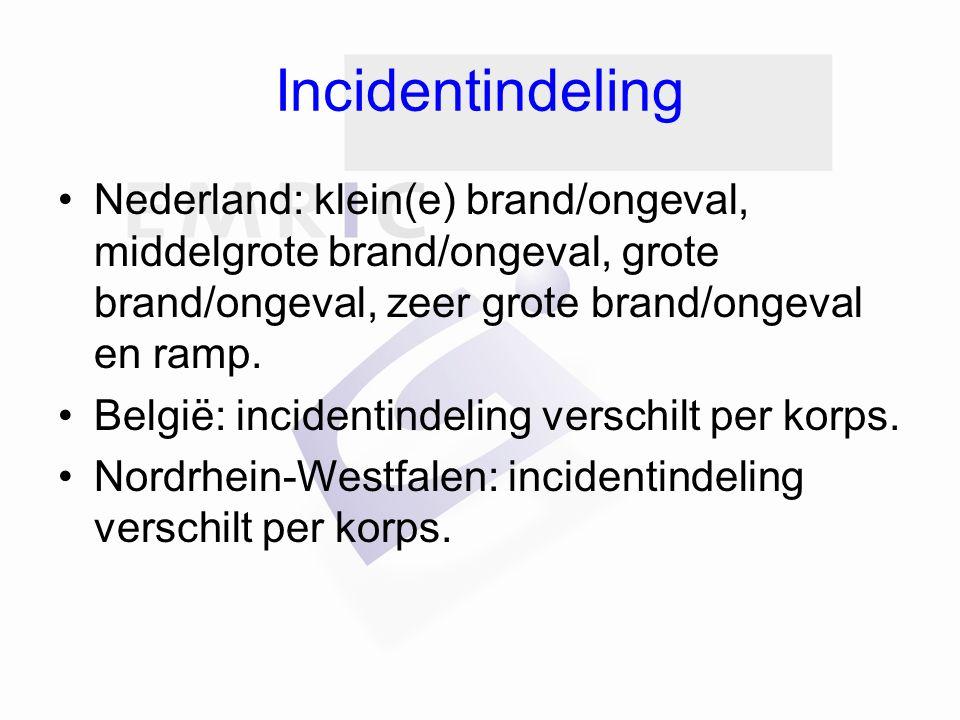 Incidentindeling Nederland: klein(e) brand/ongeval, middelgrote brand/ongeval, grote brand/ongeval, zeer grote brand/ongeval en ramp.