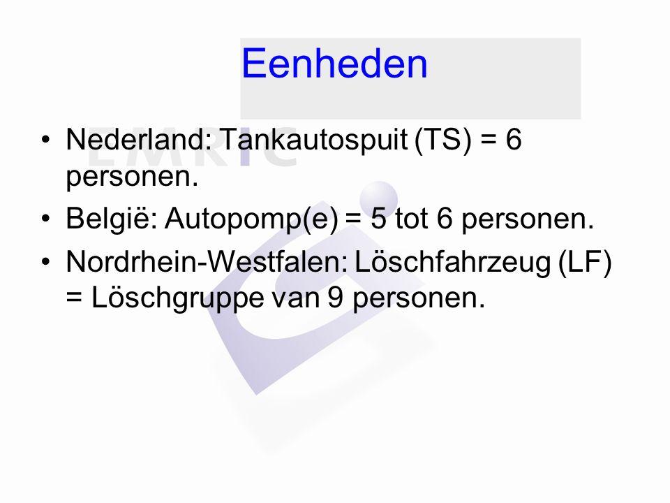 Eenheden Nederland: Tankautospuit (TS) = 6 personen.