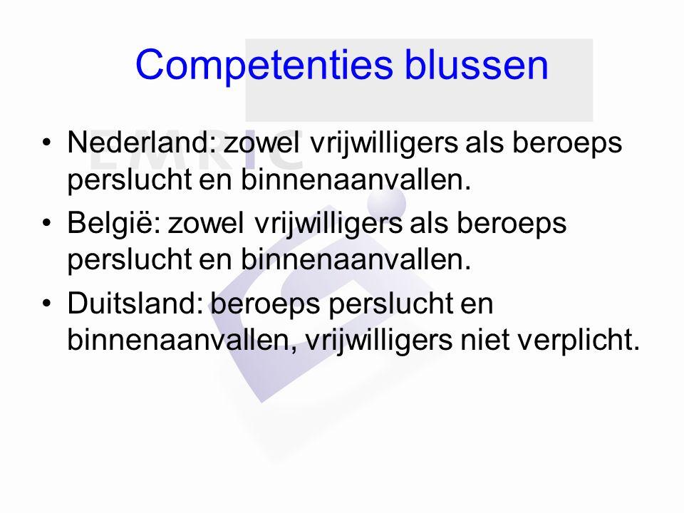 Competenties blussen Nederland: zowel vrijwilligers als beroeps perslucht en binnenaanvallen.