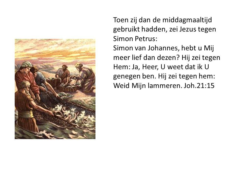 Toen zij dan de middagmaaltijd gebruikt hadden, zei Jezus tegen Simon Petrus: Simon van Johannes, hebt u Mij meer lief dan dezen.