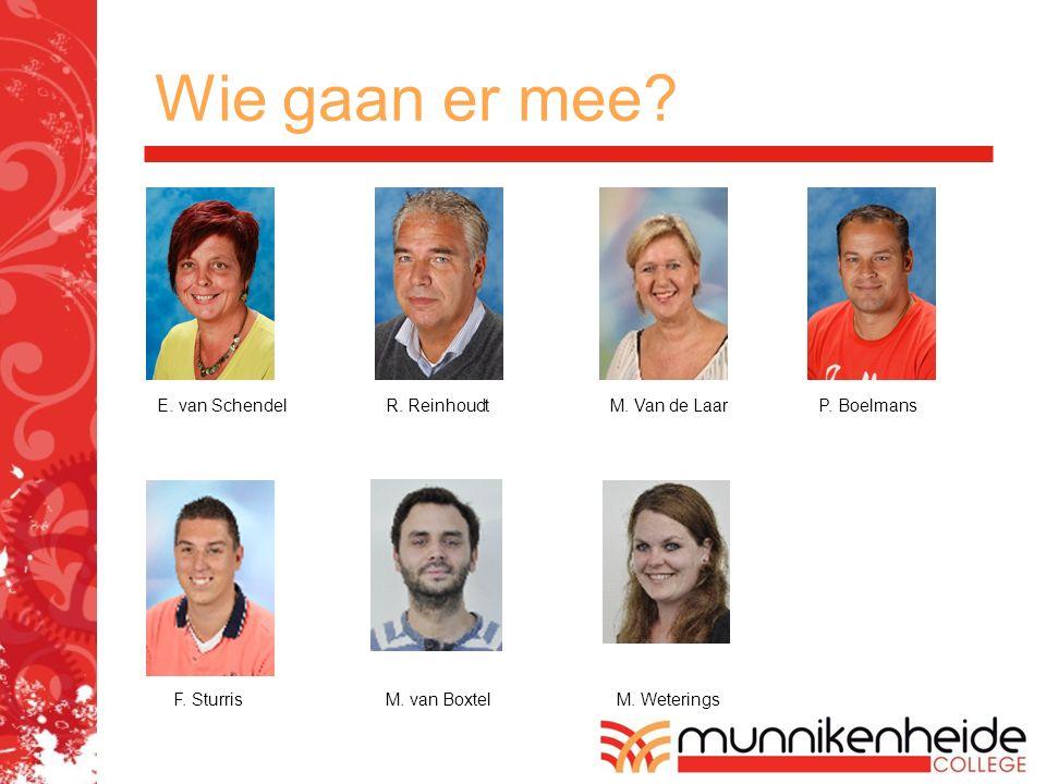 Wie gaan er mee? E. van SchendelR. Reinhoudt P. Boelmans M. Van de Laar F. SturrisM. van BoxtelM. Weterings