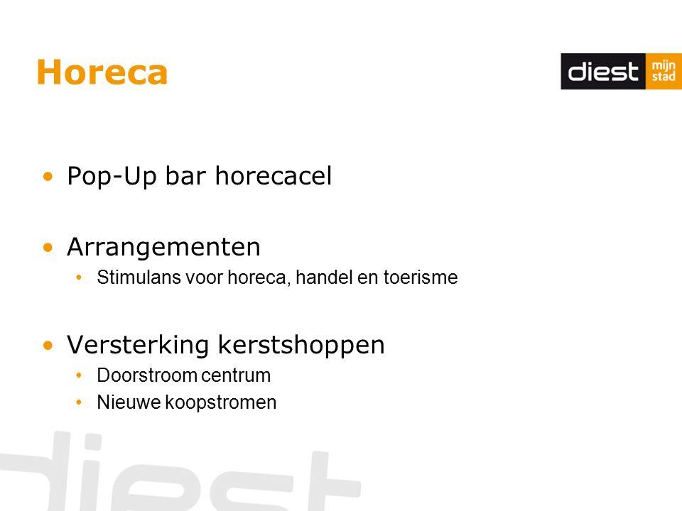 Horeca Pop-Up bar horecacel Arrangementen Stimulans voor horeca, handel en toerisme Versterking kerstshoppen Doorstroom centrum Nieuwe koopstromen