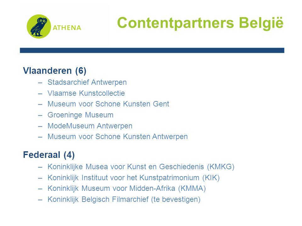 Vlaanderen (6) –Stadsarchief Antwerpen –Vlaamse Kunstcollectie –Museum voor Schone Kunsten Gent –Groeninge Museum –ModeMuseum Antwerpen –Museum voor Schone Kunsten Antwerpen Federaal (4) –Koninklijke Musea voor Kunst en Geschiedenis (KMKG) –Koninklijk Instituut voor het Kunstpatrimonium (KIK) –Koninklijk Museum voor Midden-Afrika (KMMA) –Koninklijk Belgisch Filmarchief (te bevestigen) Contentpartners België