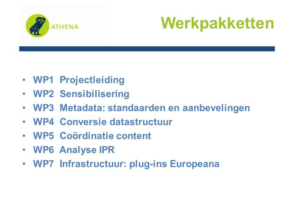 WP1 Projectmanagement, monitoring en evaluatie MiBAC (Italië) -Organisationele en administratieve organisatie -Link met de Europese Commissie en Europeana -Communicatie tussen de partners WP 1