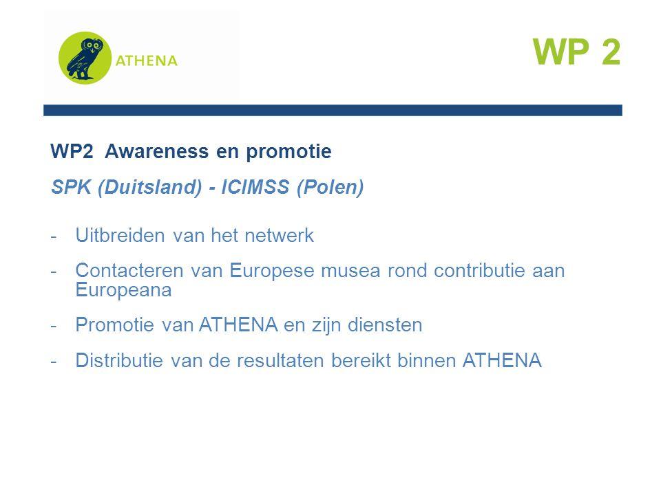 WP2 Awareness en promotie SPK (Duitsland) - ICIMSS (Polen) -Uitbreiden van het netwerk -Contacteren van Europese musea rond contributie aan Europeana -Promotie van ATHENA en zijn diensten -Distributie van de resultaten bereikt binnen ATHENA WP 2