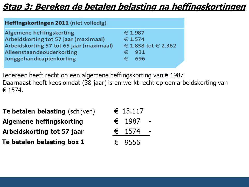 Stap 3: Bereken de betalen belasting na heffingskortingen Iedereen heeft recht op een algemene heffingskorting van € 1987. Daarnaast heeft kees omdat