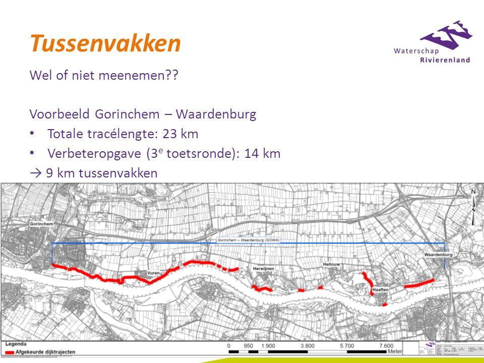 Tussenvakken Wel of niet meenemen?? Voorbeeld Gorinchem – Waardenburg Totale tracélengte: 23 km Verbeteropgave (3 e toetsronde): 14 km → 9 km tussenva