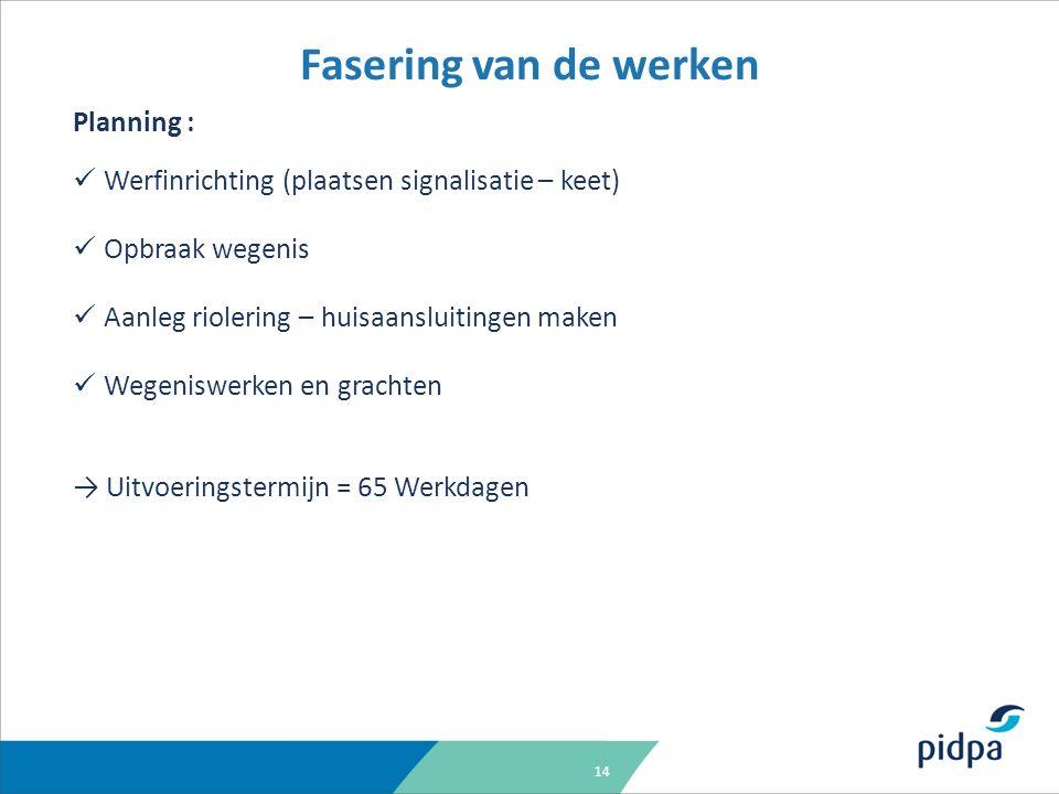 14 Fasering van de werken Planning : Werfinrichting (plaatsen signalisatie – keet) Opbraak wegenis Aanleg riolering – huisaansluitingen maken Wegenisw