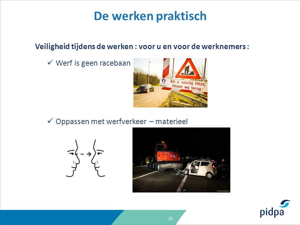 25 Veiligheid tijdens de werken : voor u en voor de werknemers : Werf is geen racebaan Oppassen met werfverkeer – materieel De werken praktisch