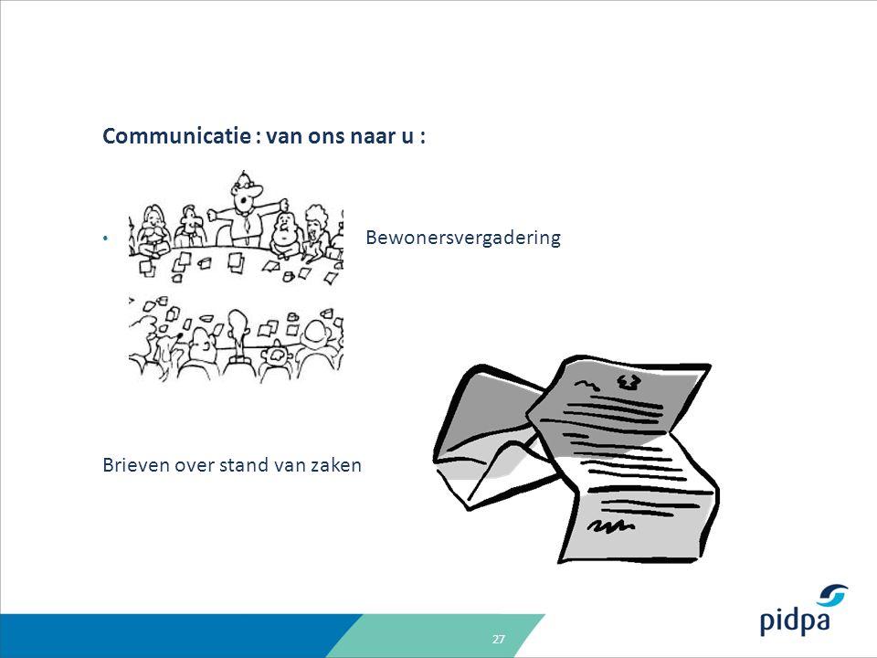 27 Communicatie : van ons naar u : Bewonersvergadering Brieven over stand van zaken