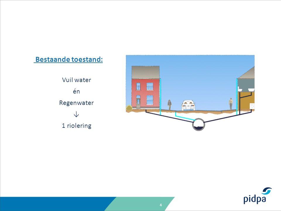 4 Bestaande toestand: Vuil water én Regenwater ↓ 1 riolering