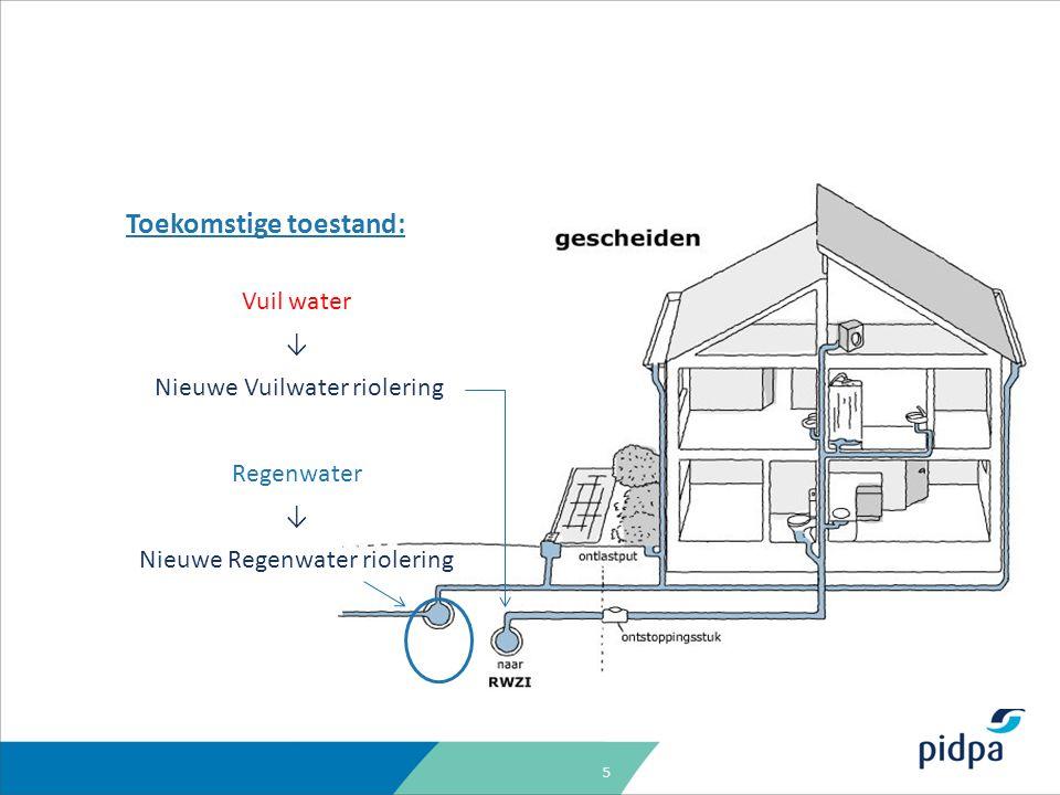 5 Toekomstige toestand: Vuil water ↓ Nieuwe Vuilwater riolering Regenwater ↓ Nieuwe Regenwater riolering