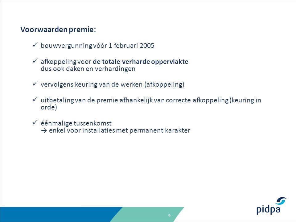 9 Voorwaarden premie: bouwvergunning vóór 1 februari 2005 afkoppeling voor de totale verharde oppervlakte dus ook daken en verhardingen vervolgens keu