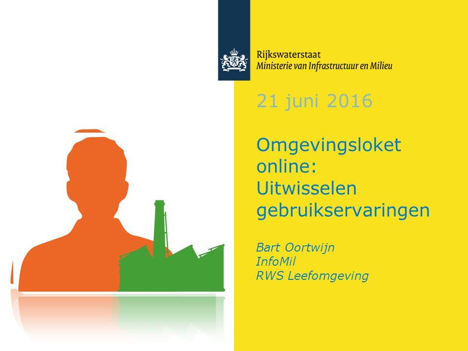 21 juni 2016 Omgevingsloket online: Uitwisselen gebruikservaringen Bart Oortwijn InfoMil RWS Leefomgeving