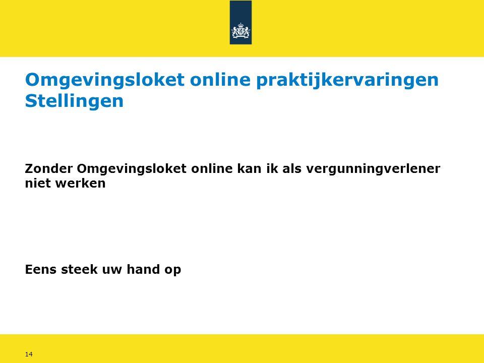 14 Omgevingsloket online praktijkervaringen Stellingen Zonder Omgevingsloket online kan ik als vergunningverlener niet werken Eens steek uw hand op