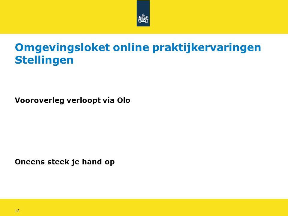 15 Omgevingsloket online praktijkervaringen Stellingen Vooroverleg verloopt via Olo Oneens steek je hand op
