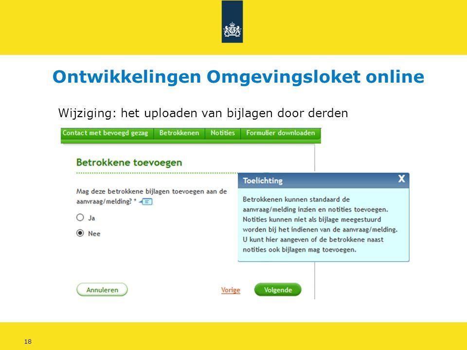 18 Wijziging: het uploaden van bijlagen door derden Ontwikkelingen Omgevingsloket online