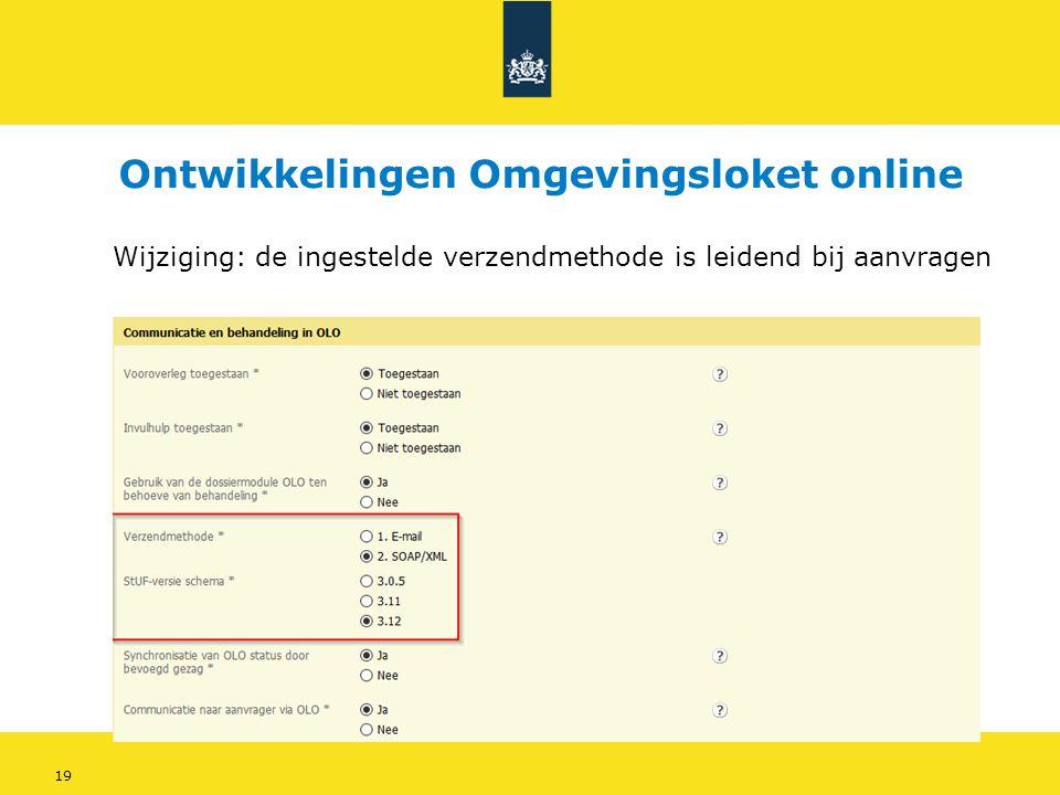 19 Wijziging: de ingestelde verzendmethode is leidend bij aanvragen Ontwikkelingen Omgevingsloket online