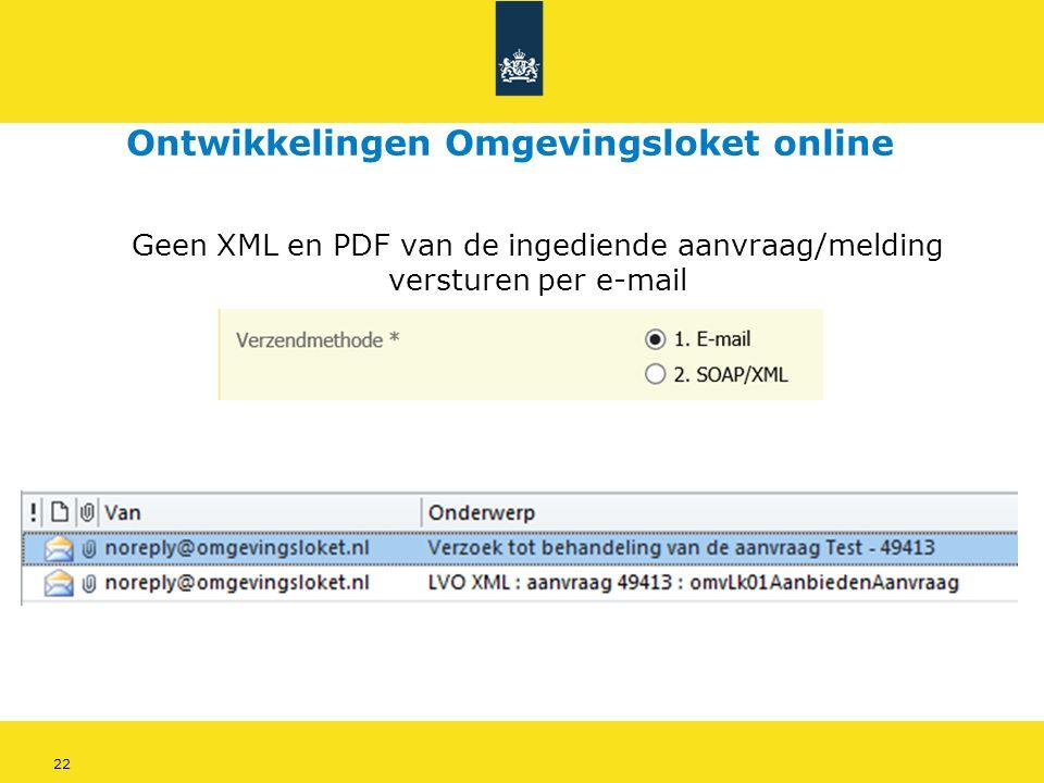 22 Geen XML en PDF van de ingediende aanvraag/melding versturen per e-mail Ontwikkelingen Omgevingsloket online