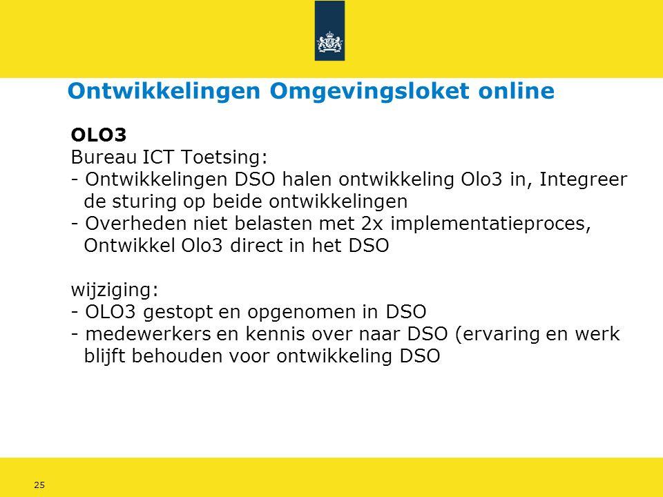 25 OLO3 Bureau ICT Toetsing: - Ontwikkelingen DSO halen ontwikkeling Olo3 in, Integreer de sturing op beide ontwikkelingen - Overheden niet belasten met 2x implementatieproces, Ontwikkel Olo3 direct in het DSO wijziging: - OLO3 gestopt en opgenomen in DSO - medewerkers en kennis over naar DSO (ervaring en werk blijft behouden voor ontwikkeling DSO Ontwikkelingen Omgevingsloket online
