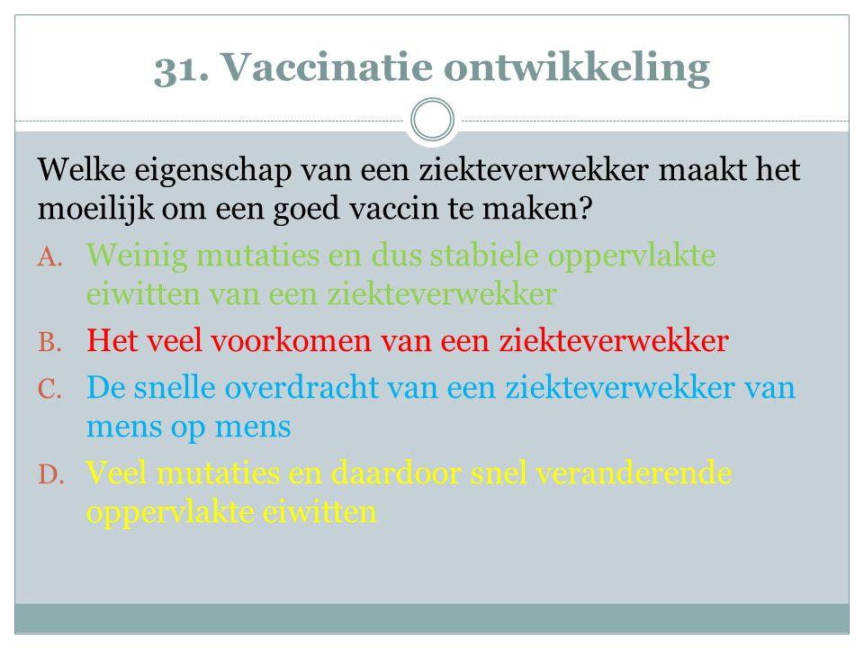 31. Vaccinatie ontwikkeling Welke eigenschap van een ziekteverwekker maakt het moeilijk om een goed vaccin te maken? A. Weinig mutaties en dus stabiel
