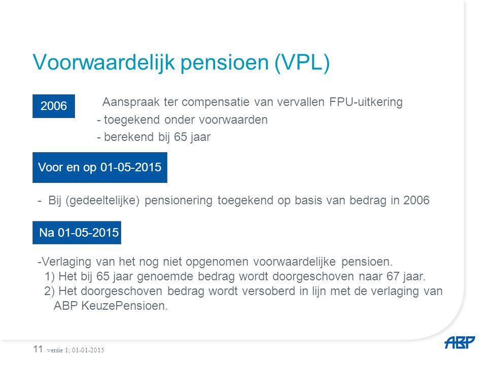 Voorwaardelijk pensioen (VPL) Aanspraak ter compensatie van vervallen FPU-uitkering - toegekend onder voorwaarden - berekend bij 65 jaar 11 2006 - Bij (gedeeltelijke) pensionering toegekend op basis van bedrag in 2006 Na 01-05-2015 -Verlaging van het nog niet opgenomen voorwaardelijke pensioen.