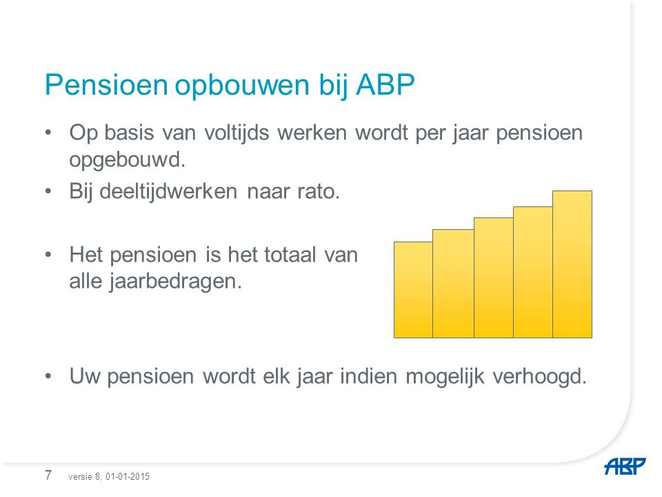 Pensioen opbouwen bij ABP Op basis van voltijds werken wordt per jaar pensioen opgebouwd.