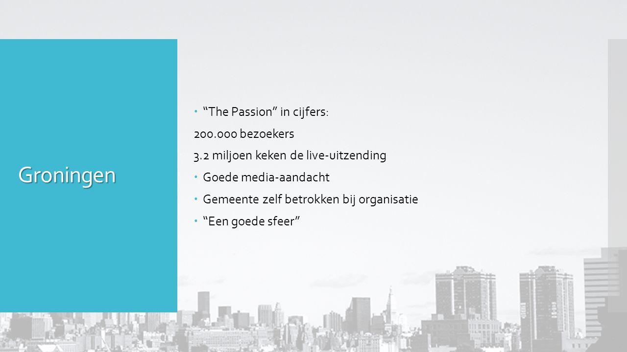 Groningen  The Passion in cijfers: 200.000 bezoekers 3.2 miljoen keken de live-uitzending  Goede media-aandacht  Gemeente zelf betrokken bij organisatie  Een goede sfeer