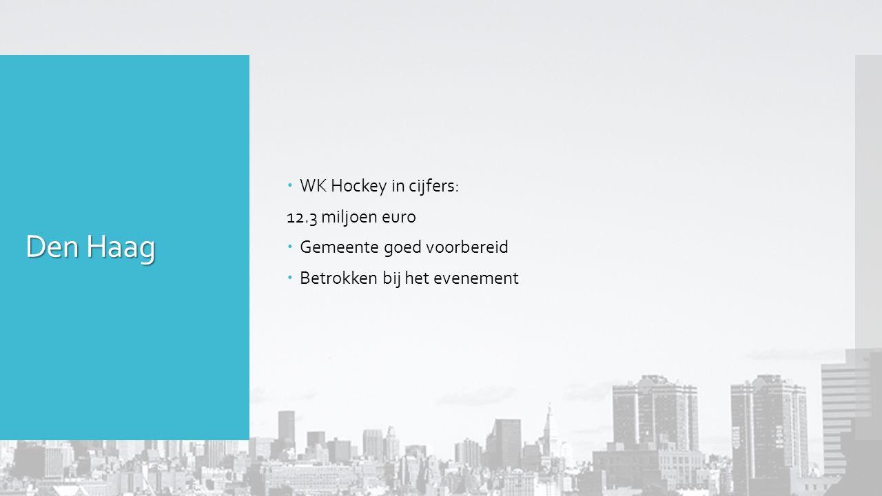  WK Hockey in cijfers: 12.3 miljoen euro  Gemeente goed voorbereid  Betrokken bij het evenement
