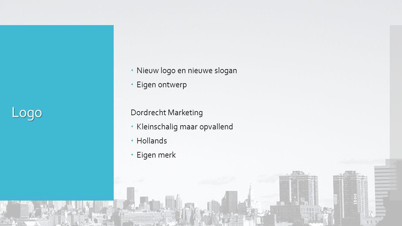 Logo  Nieuw logo en nieuwe slogan  Eigen ontwerp Dordrecht Marketing  Kleinschalig maar opvallend  Hollands  Eigen merk