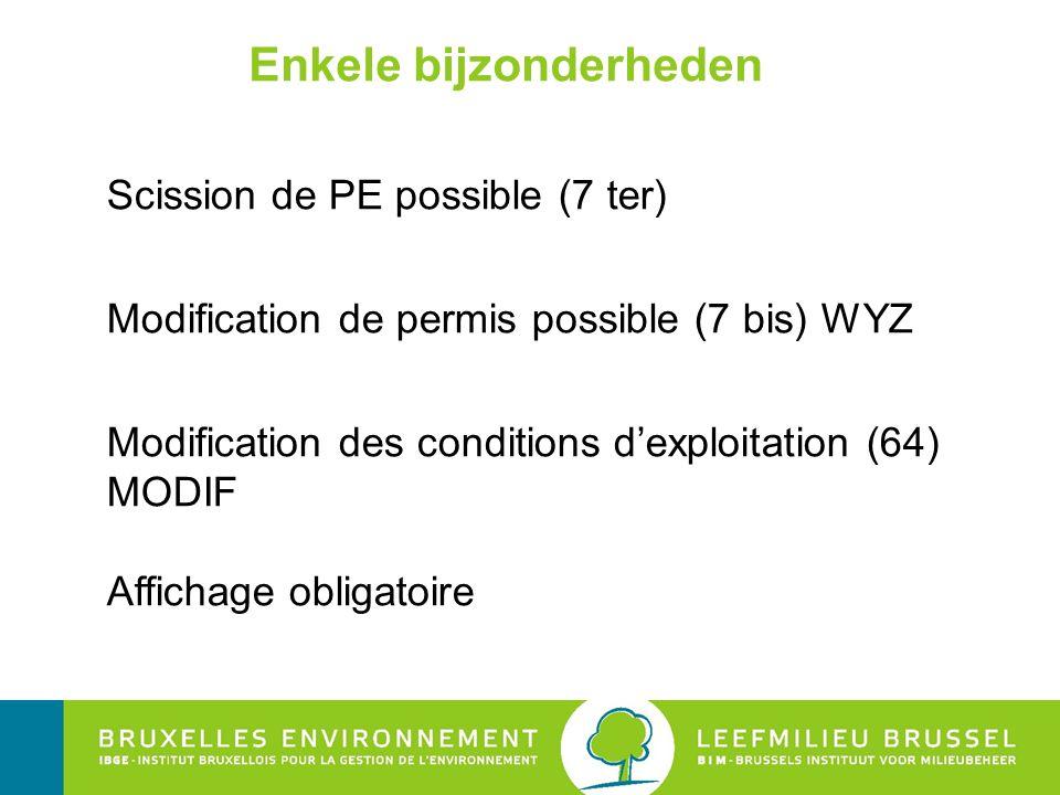 Enkele bijzonderheden Scission de PE possible (7 ter) Modification de permis possible (7 bis) WYZ Modification des conditions d'exploitation (64) MODI